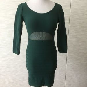 Bebe Green Body con Dress with Mesh Detail